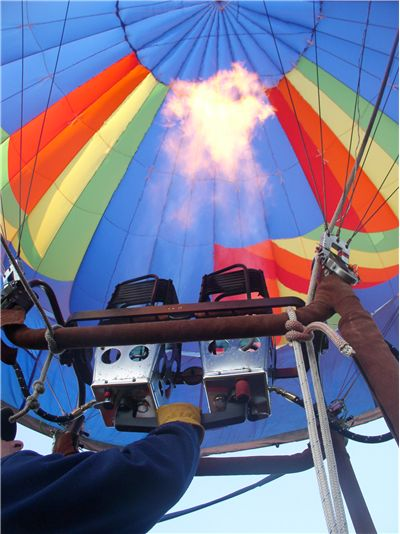 Picture Of Fabric And Engine Of Hot Air Balloon