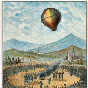 Picture Of First Public Demonstration Of A Balloon By Montogolfier