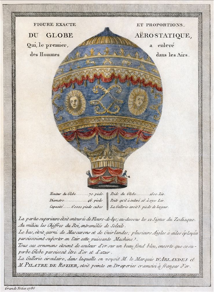 Picture Of The Montgolfier Brothers Historic Balloon With Engineering Data